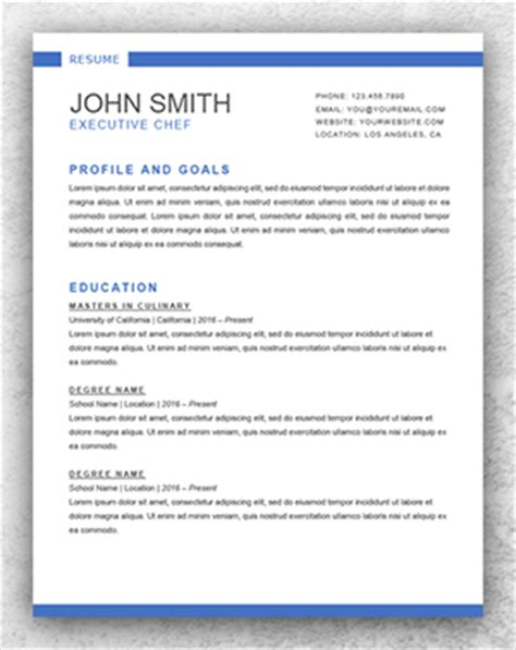 Chef Resume Templates Word by Resume Template Start Professional Resume Templates For Word