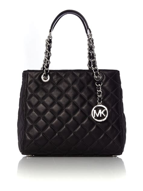 michael kors quilted bag michael kors susannah black quilted tote bag in black lyst