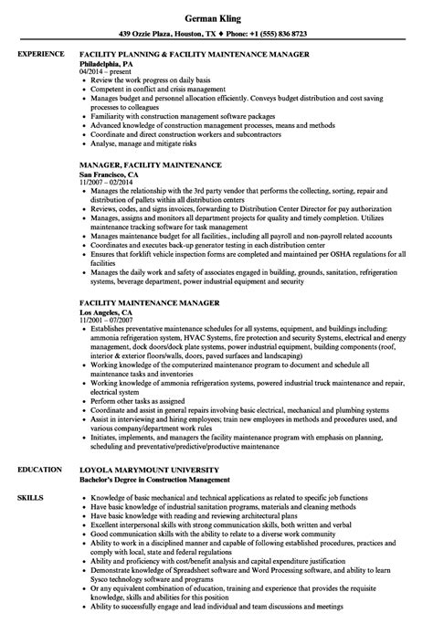 Maintenance Manager Resume by Facility Maintenance Manager Resume Sles Velvet