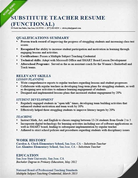 resume template for teachers resume sles