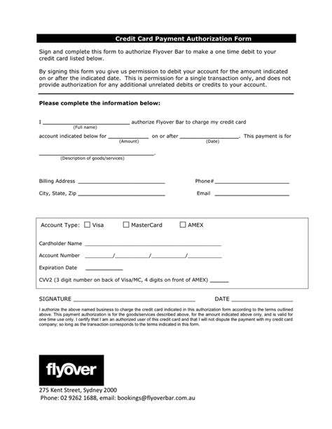 time credit card payment authorization form  word