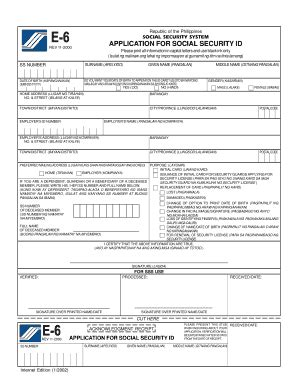sss e6 form sss e6 form online fill online printable fillable