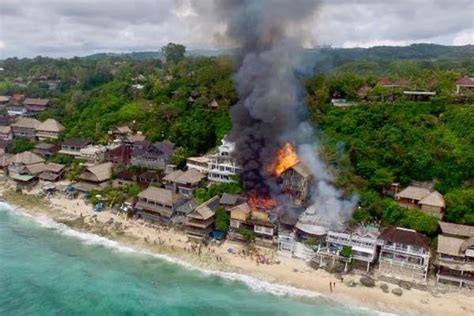 bingin beach  bali woke    april   big fire