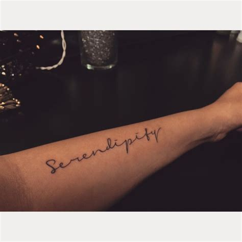 serendipity tattoo placement arm tattoo girly script
