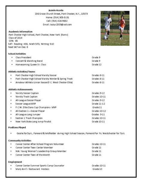 Soccer Resume Template by Soccer Recruiting Resume Search Tillie