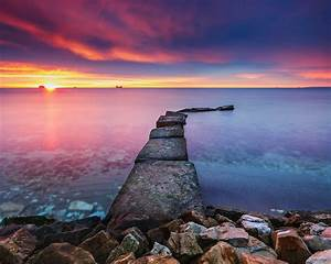 Sunrise, Over, The, Sea, Red, Clouds, Horizon, Image, For, Wallpapers, Hd, Wallpapers13, Com
