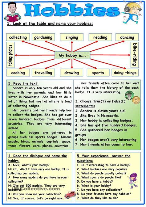 hobbies worksheets and