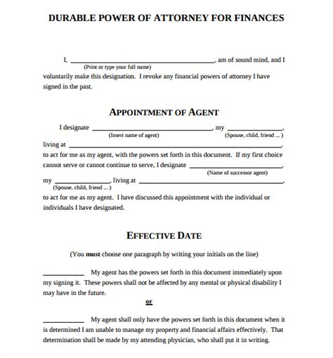 durable power  attorney forms sample templates
