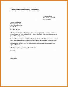 4+ decline a job offer sample letter  mail clerked