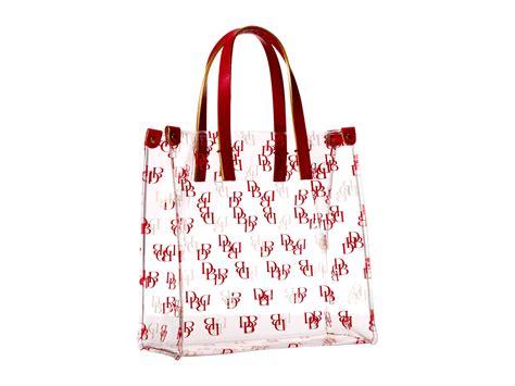 lyst dooney bourke clear shopper bag  red