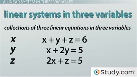 how to solve a linear system in three variables with a