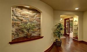 Basement Curved Wall and Niche - Traditional - Basement