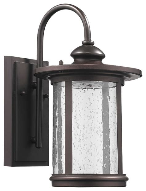 cole transitional led rubbed bronze outdoor wall sconce