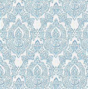 White and Blue Vintage Damask Fabric by the Yard | Blue ...