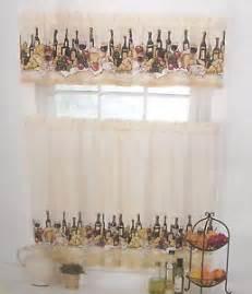 tuscan wine bottles vineyard merlot grapes fruit tier valance kitchen curtains on popscreen