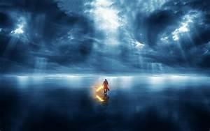 Star Wars Lightsaber Sea Crepuscular Rays Storm