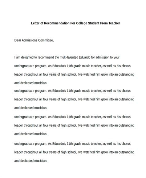 sample recommendation letter  students