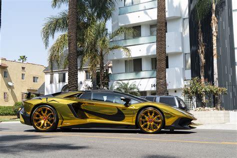 A Golden Lamborghini by Chris Brown S Gold Lamborghini Aventador Sv Roadster On