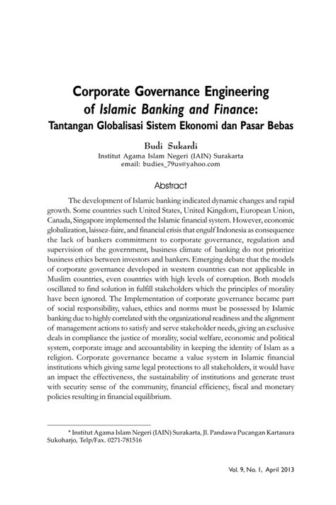 (PDF) Corporate Governance Engineering of Islamic Banking