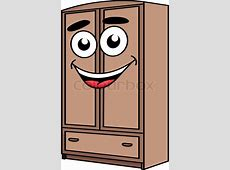 Happy cartoon cute wardrobe furniture character isolated