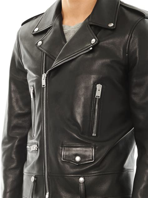 saint laurent leather motorcycle jacket  black  men