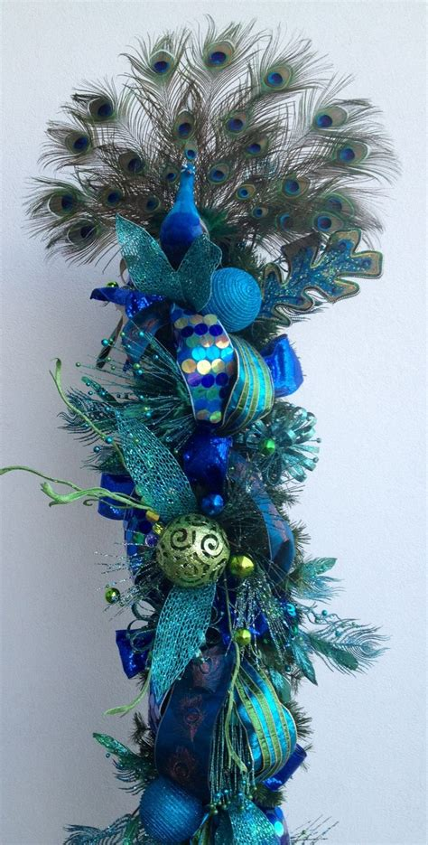 blue christmas peacock tree turquoise pinterest