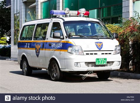 Police Car In Korea Stock Photo