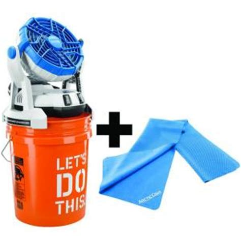 arctic cove 18 volt bucket top misting fan and cooling