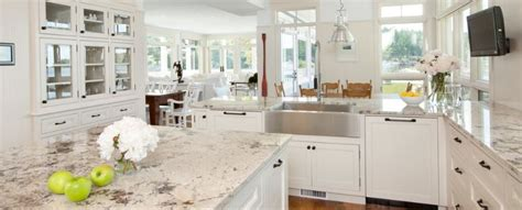 white marble or granite or quartz kitchen worktops which