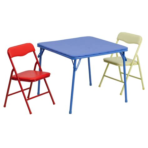 colorful 3 folding table and chair set