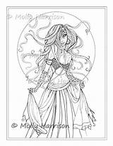 Coloring Dancer Gypsy Belly Printable Pages Adult Boho Molly Harrison Stamp Digital Fantasy Sketch Bohemian Sheet Witch Sheets Template Fairy sketch template