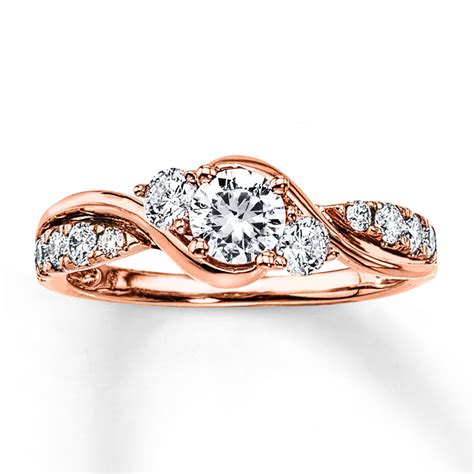 Diamond Engagement Ring 78 Ct Tw Roundcut 14k Rose Gold