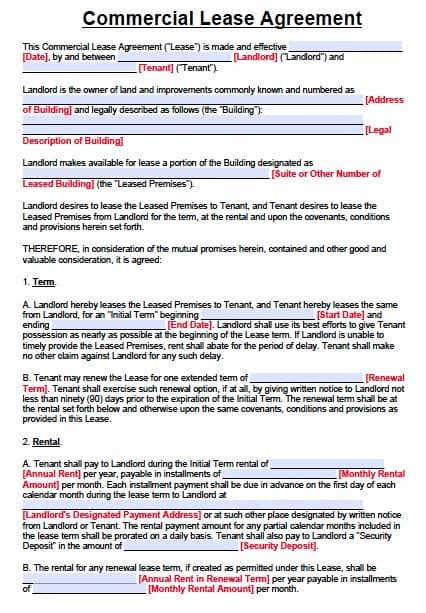Commercial Building Lease Agreement Template by Free Commercial Lease Agreement Form Pdf Word