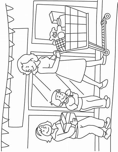 Shopping Market Mother Coloring Colouring Worksheets Printables