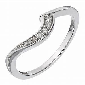 Perfect Fit 9ct White Gold Diamond Curved Wedding Band H