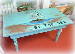 handmade painted shabby beach inspired coffee table With beach cottage coffee table