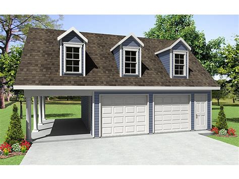 2-car Garage Plan With Carport