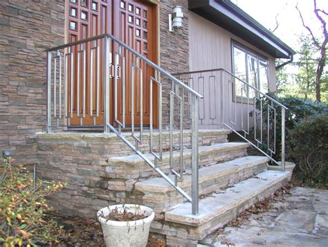 Custom Made Greenan Exterior Entry Railing By Eric David