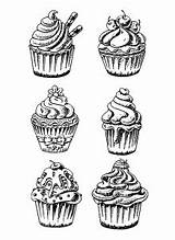 Coloring Cupcakes Cakes Pages Cup Cake Six Without Adults Waiting sketch template