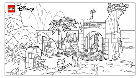 moanas beautiful island home coloring pages lego