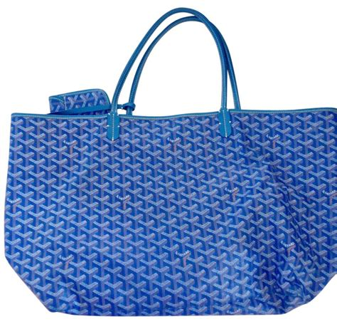 goyard tote colors goyard blue coated canvas and leather excellent dust