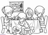 Eating Before Praying Coloring Prays Pray Pages Quietly Person Each sketch template