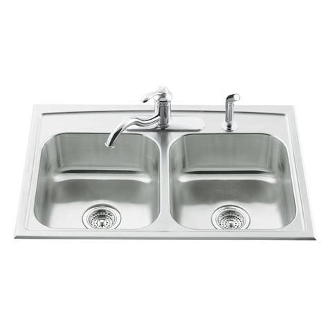 kohler stainless steel kitchen sinks shop kohler toccata 22 in x 33 in double basin stainless