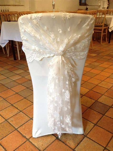 ivory lace hood with ivory chair cover again can be