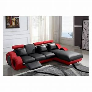 canape d39angle cuir relax rouge et noir vilnus achat With canape cuir angle rouge