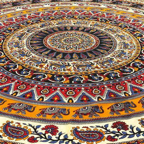 canape anglais noir indian éléphant mandala tapisserie tenture