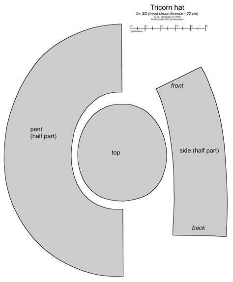 Hat Tricorn Pattern Paper Colonial 40f93751db8