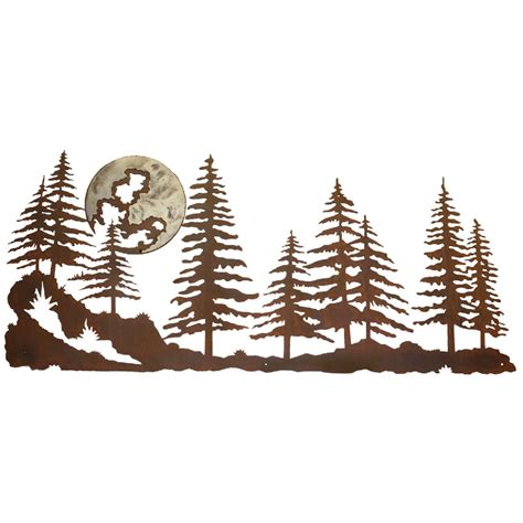 pine forest burnished metal wall art
