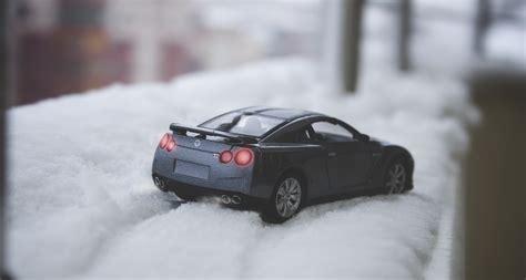 Black Nissan Skyline Gtr R35 Scale Model On Snow Free