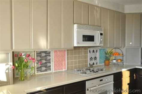 diy temporary backsplash  ikea frames